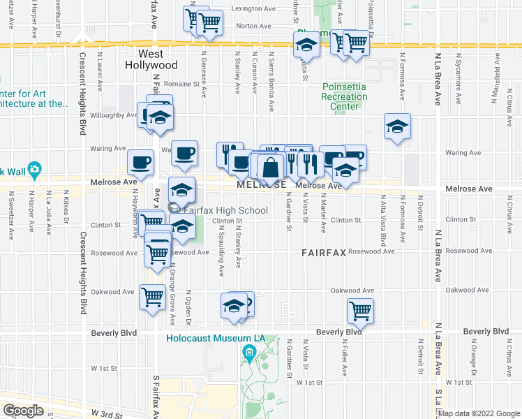 map of restaurants, bars, coffee shops, grocery stores, and more near 616 North Curson Avenue in Los Angeles