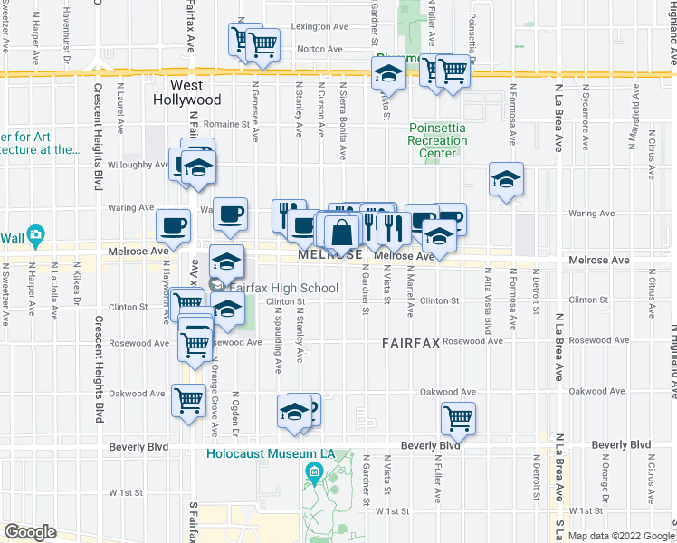 map of restaurants, bars, coffee shops, grocery stores, and more near 639 North Sierra Bonita Avenue in Los Angeles