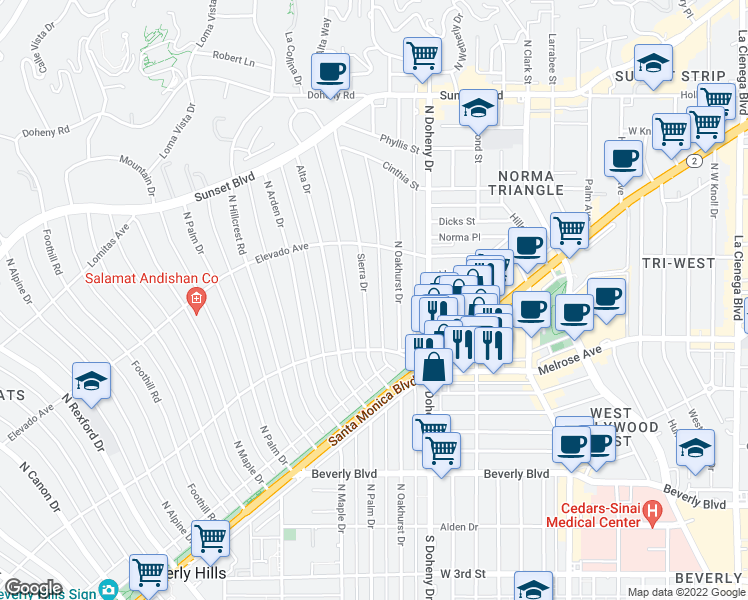 map of restaurants, bars, coffee shops, grocery stores, and more near 618 North Sierra Drive in Beverly Hills