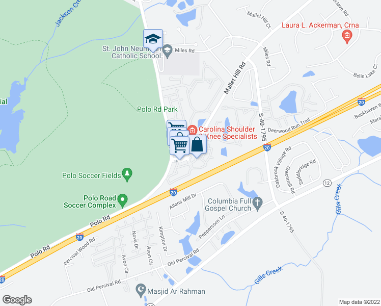 map of restaurants, bars, coffee shops, grocery stores, and more near 811 Mallet Hill Road in Columbia