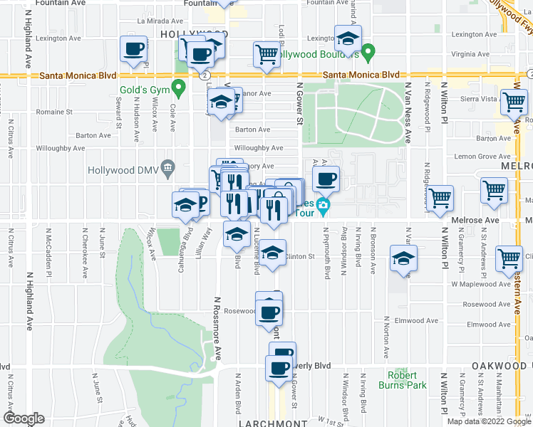 map of restaurants, bars, coffee shops, grocery stores, and more near 710 North El Centro Avenue in Los Angeles