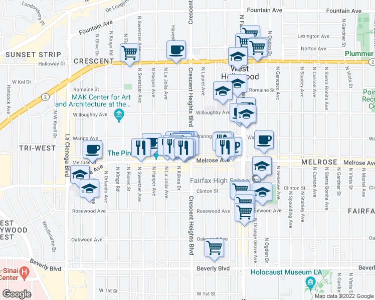 map of restaurants, bars, coffee shops, grocery stores, and more near 725 North Crescent Heights Boulevard in Los Angeles