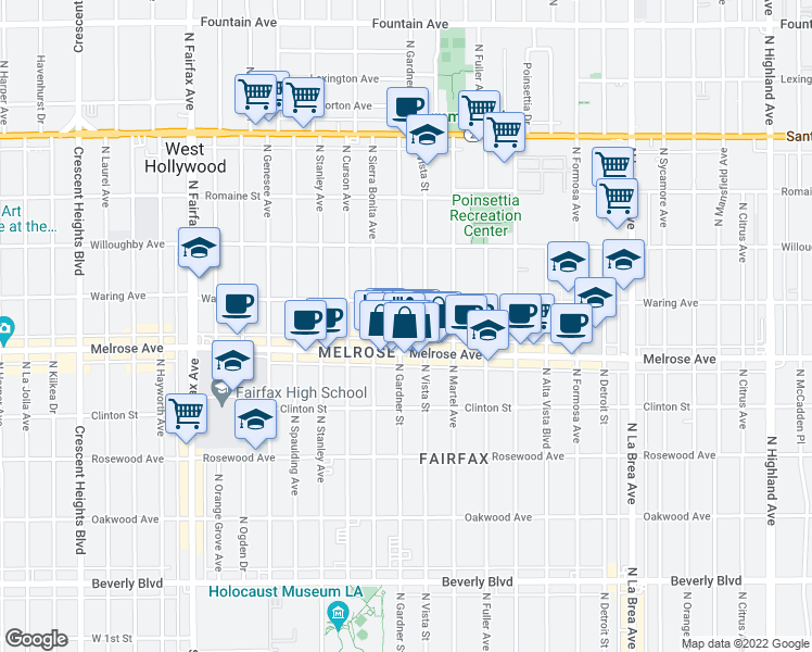 map of restaurants, bars, coffee shops, grocery stores, and more near 726 North Gardner Street in Los Angeles