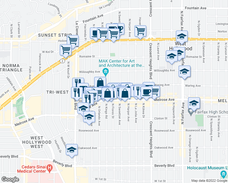 map of restaurants, bars, coffee shops, grocery stores, and more near 740 North Kings Road in Los Angeles