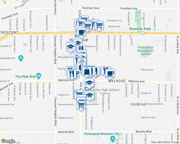 map of restaurants, bars, coffee shops, grocery stores, and more near 729-731 North Orange Grove Avenue in Los Angeles
