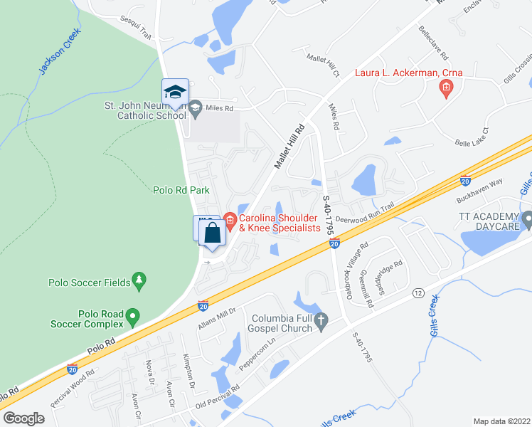 map of restaurants, bars, coffee shops, grocery stores, and more near 751 Mallet Hill Road in Columbia