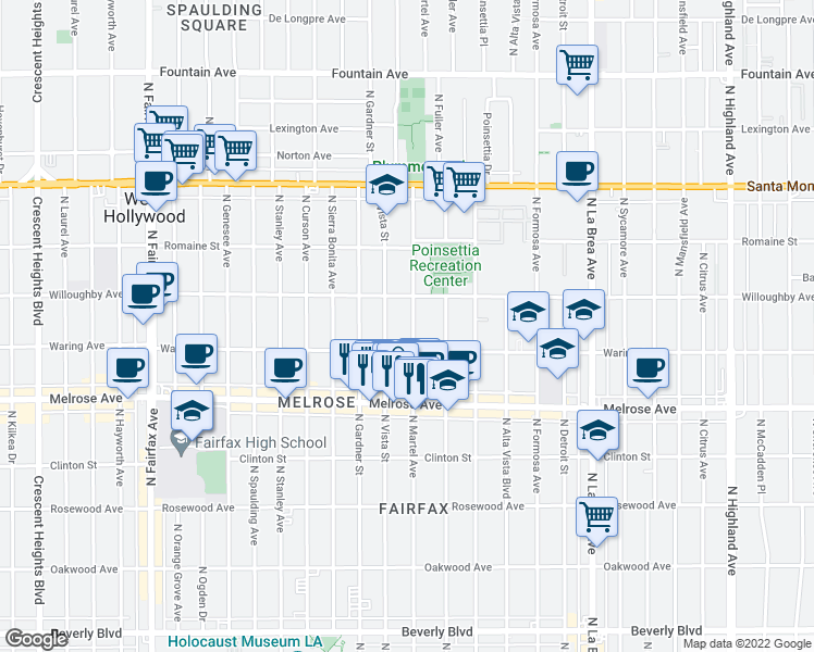 map of restaurants, bars, coffee shops, grocery stores, and more near 829 North Martel Avenue in Los Angeles