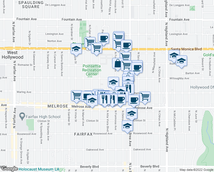 map of restaurants, bars, coffee shops, grocery stores, and more near 827 North Alta Vista Boulevard in Los Angeles