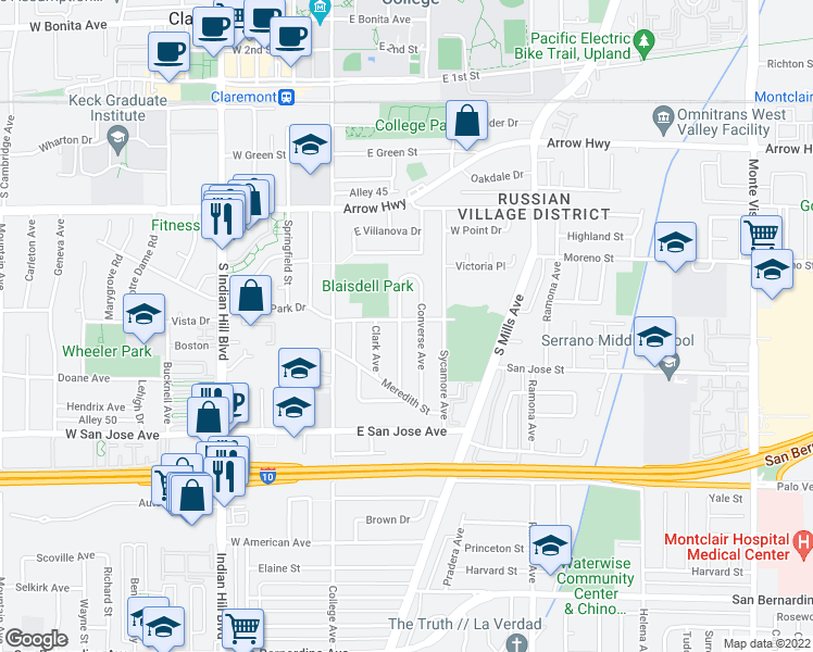 map of restaurants, bars, coffee shops, grocery stores, and more near 502 Cedarcrest Avenue in Claremont