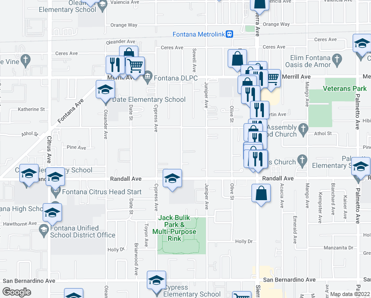 map of restaurants, bars, coffee shops, grocery stores, and more near 9193 Pepper Avenue in Fontana