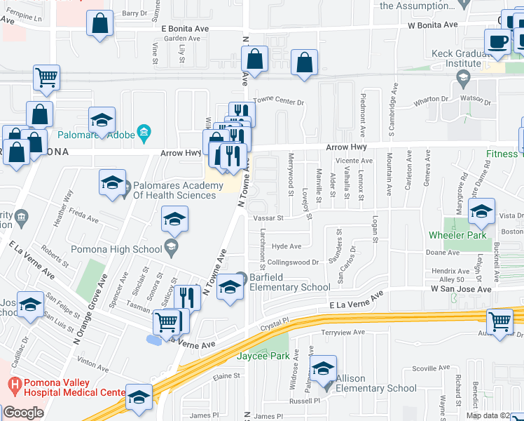 map of restaurants, bars, coffee shops, grocery stores, and more near 2410 North Towne Avenue in Pomona