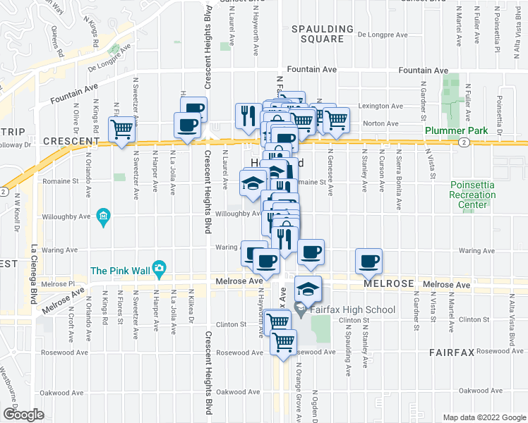 map of restaurants, bars, coffee shops, grocery stores, and more near 7917 Willoughby Avenue in West Hollywood