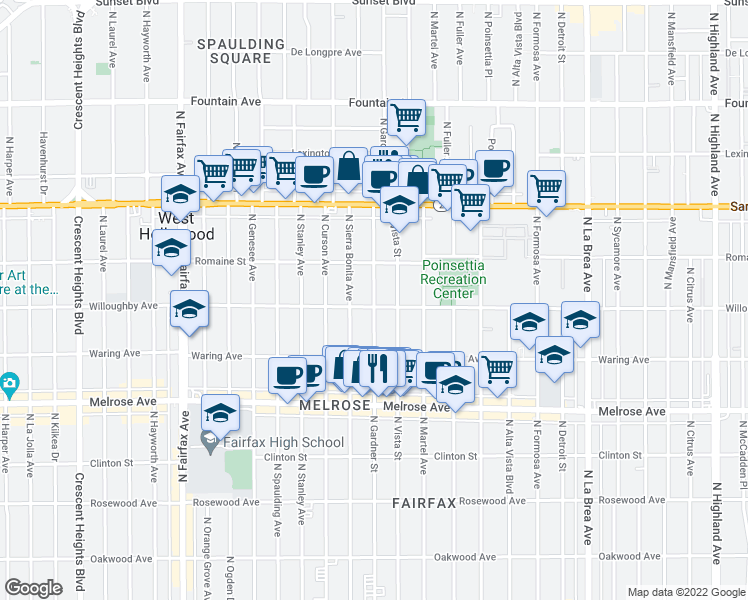 map of restaurants, bars, coffee shops, grocery stores, and more near 916 North Gardner Street in West Hollywood