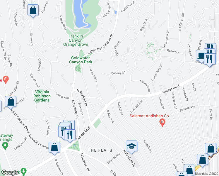 map of restaurants, bars, coffee shops, grocery stores, and more near 911 Foothill Road in Beverly Hills