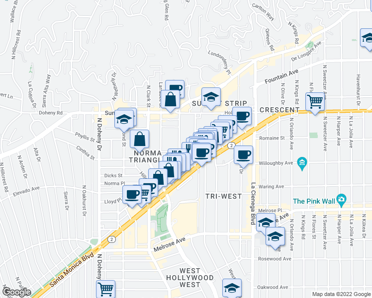 map of restaurants, bars, coffee shops, grocery stores, and more near 930 Palm Avenue in West Hollywood