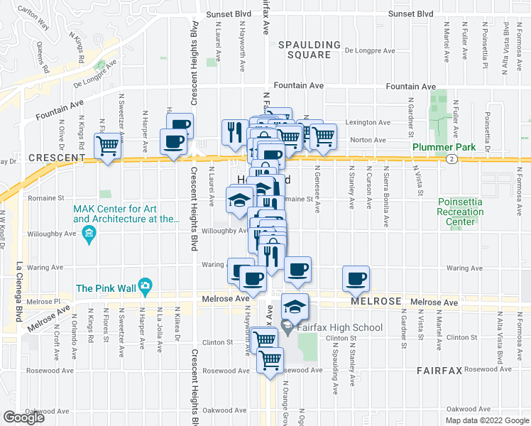 map of restaurants, bars, coffee shops, grocery stores, and more near 905 North Fairfax Avenue in West Hollywood
