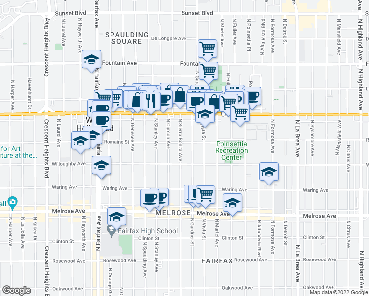 map of restaurants, bars, coffee shops, grocery stores, and more near 940 North Sierra Bonita Avenue in West Hollywood