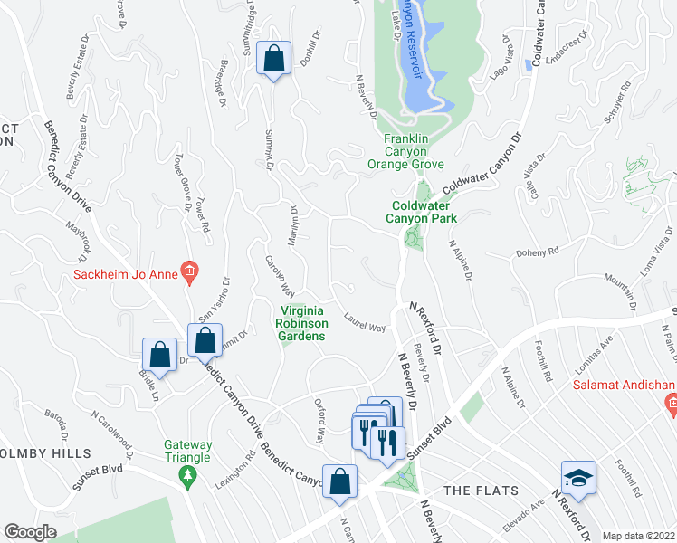 map of restaurants, bars, coffee shops, grocery stores, and more near 1022 Laurel Way in Beverly Hills