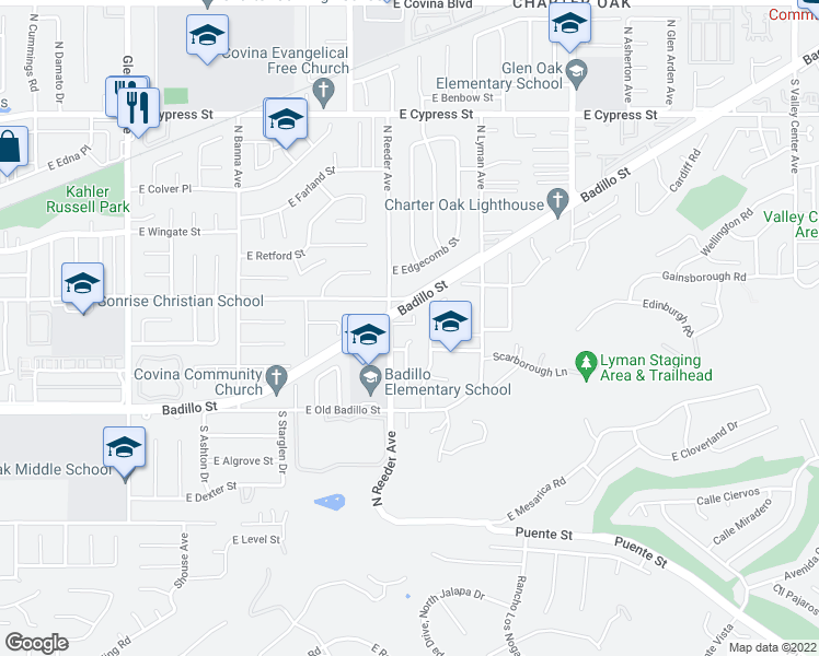 map of restaurants, bars, coffee shops, grocery stores, and more near 1806 East Palm Drive in Covina