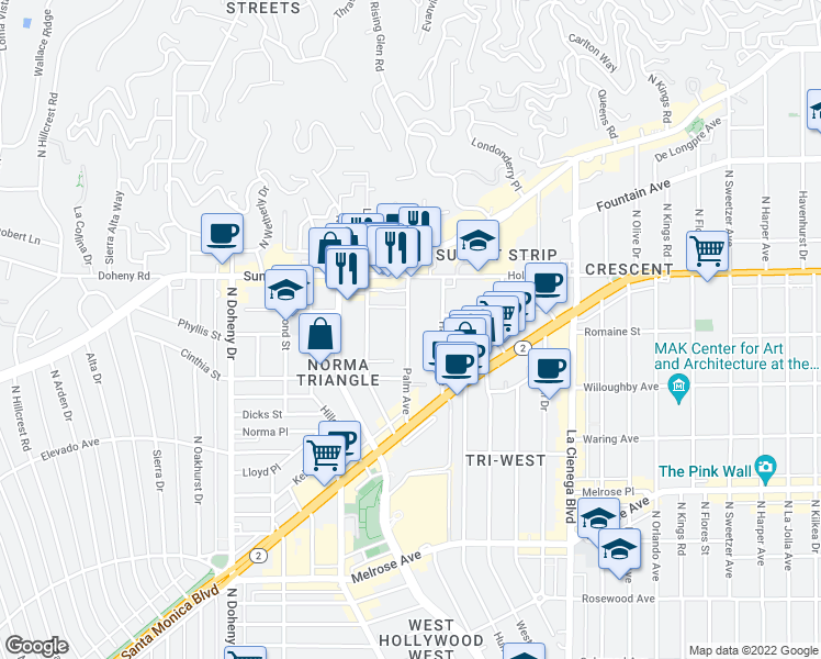 map of restaurants, bars, coffee shops, grocery stores, and more near 958 Palm Avenue in West Hollywood