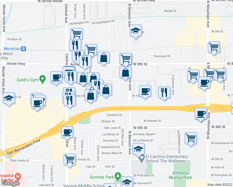 map of restaurants, bars, coffee shops, grocery stores, and more near 5616 Moreno Street in Montclair