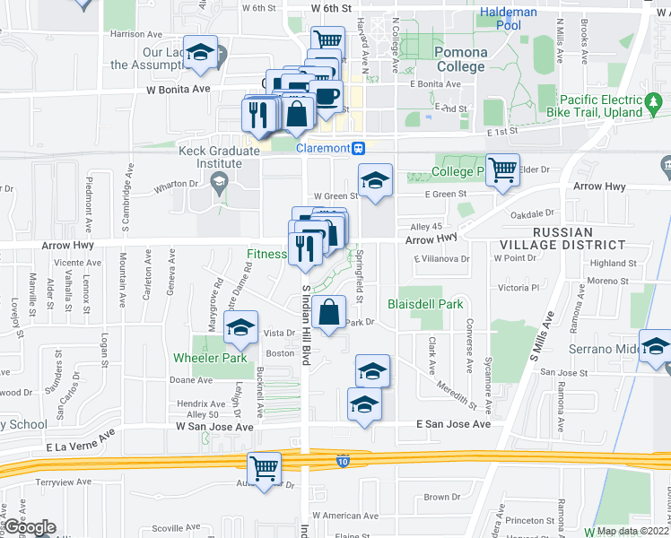 map of restaurants, bars, coffee shops, grocery stores, and more near 410 South Indian Hill Boulevard in Claremont