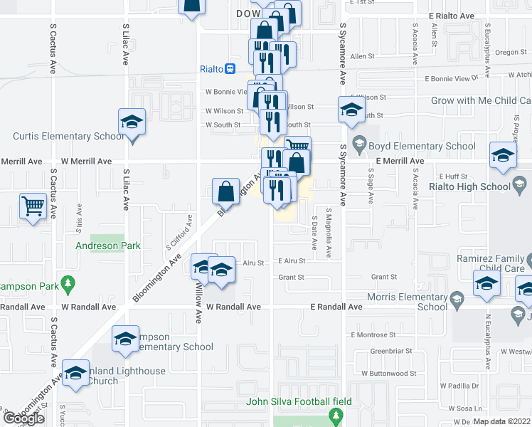 map of restaurants, bars, coffee shops, grocery stores, and more near 606 South Riverside Avenue in Rialto