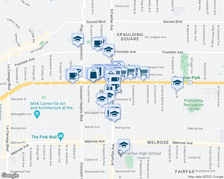 map of restaurants, bars, coffee shops, grocery stores, and more near 7908 Santa Monica Boulevard in West Hollywood