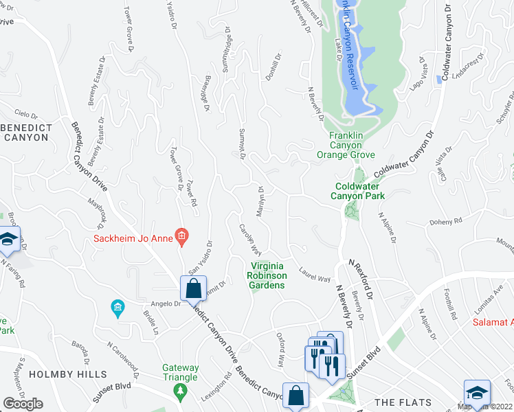 map of restaurants, bars, coffee shops, grocery stores, and more near 1101 Marilyn Drive in Beverly Hills