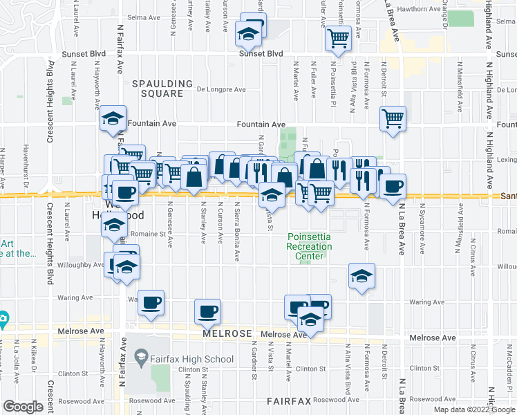 map of restaurants, bars, coffee shops, grocery stores, and more near 1050 North Gardner Street in West Hollywood