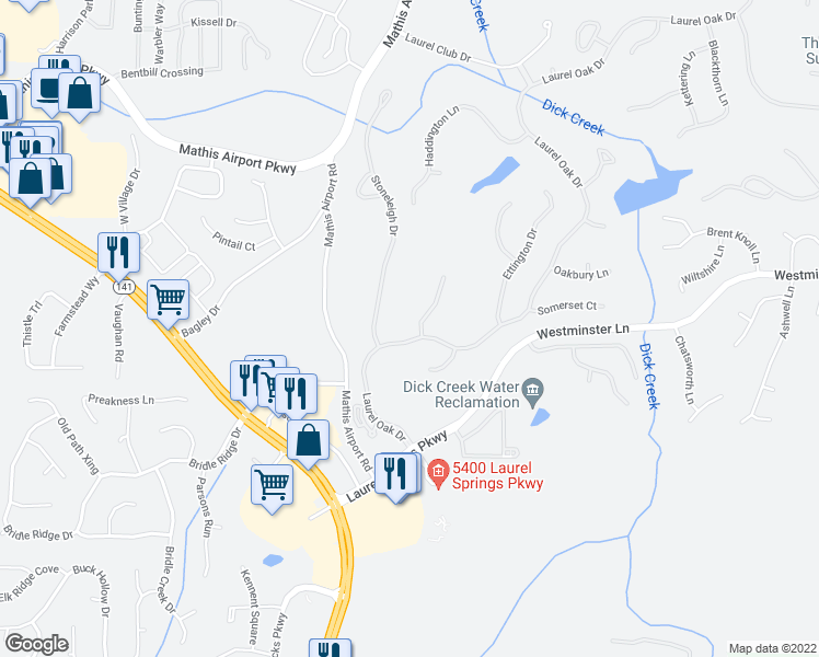 map of restaurants, bars, coffee shops, grocery stores, and more near 5615 Buckleigh Pointe in Suwanee