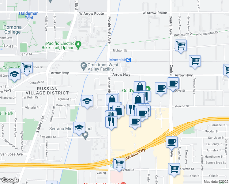 map of restaurants, bars, coffee shops, grocery stores, and more near 4914 Olive Street in Montclair