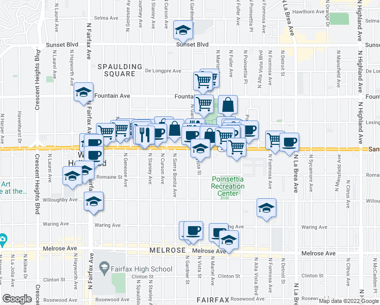 map of restaurants, bars, coffee shops, grocery stores, and more near 7496 Santa Monica Boulevard in West Hollywood