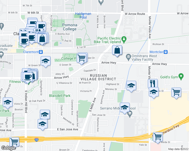 map of restaurants, bars, coffee shops, grocery stores, and more near 437 Cucamonga Avenue in Claremont