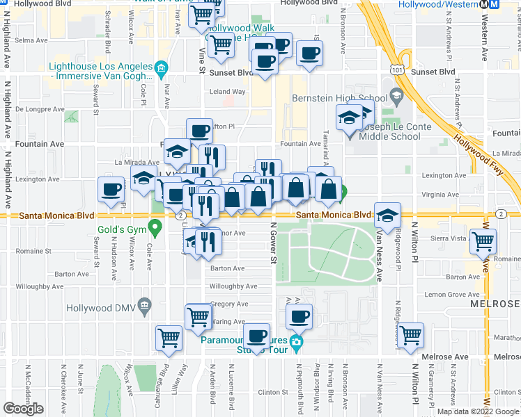 map of restaurants, bars, coffee shops, grocery stores, and more near 6121 Santa Monica Boulevard in Los Angeles