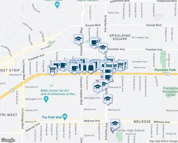 map of restaurants, bars, coffee shops, grocery stores, and more near 1037-1099 North Laurel Avenue in West Hollywood