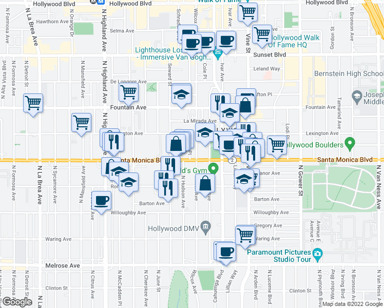 map of restaurants, bars, coffee shops, grocery stores, and more near 6511 Santa Monica Boulevard in Los Angeles