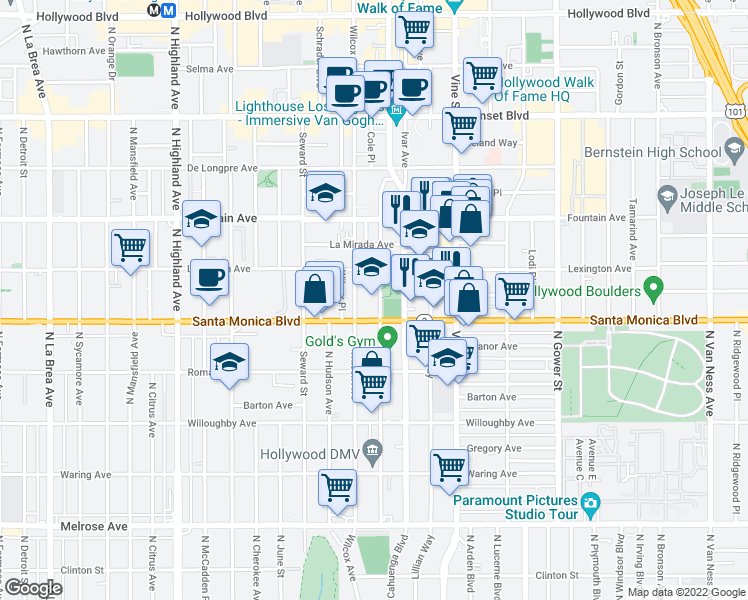 map of restaurants, bars, coffee shops, grocery stores, and more near 6446 Lexington Avenue in Los Angeles