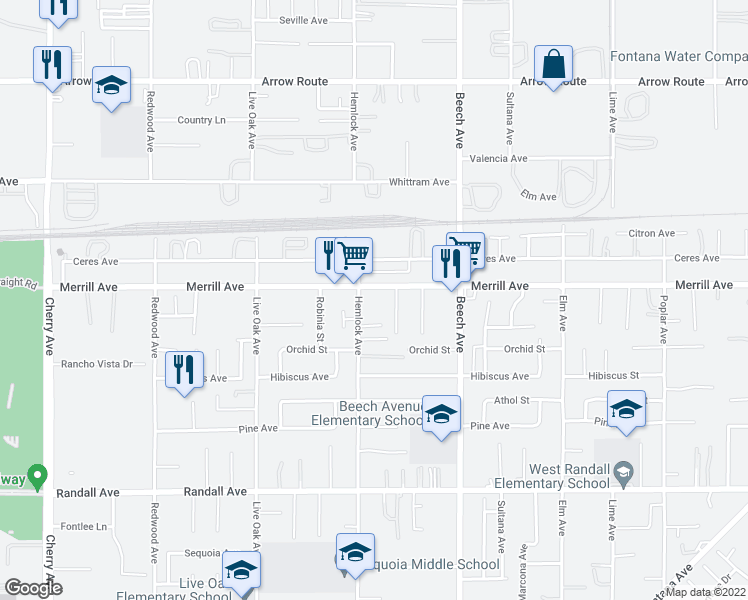 map of restaurants, bars, coffee shops, grocery stores, and more near 15111 Merrill Avenue in Fontana