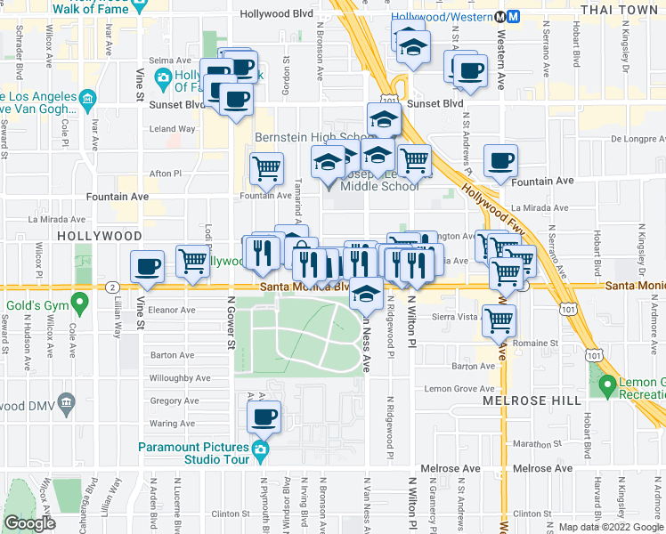 map of restaurants, bars, coffee shops, grocery stores, and more near 5846 Virginia Avenue in Los Angeles