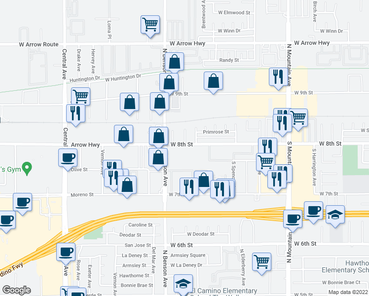 map of restaurants, bars, coffee shops, grocery stores, and more near 1540 West 8th Street in Upland