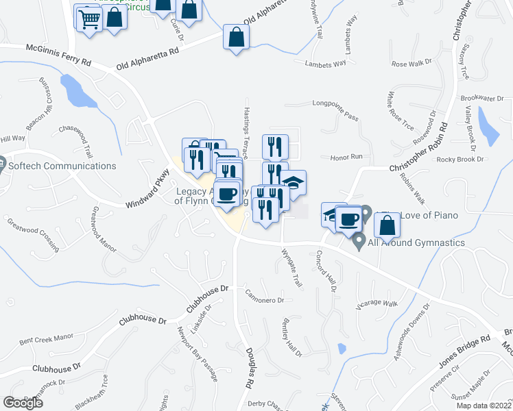 map of restaurants, bars, coffee shops, grocery stores, and more near 5354 McGinnis Ferry Road in Alpharetta