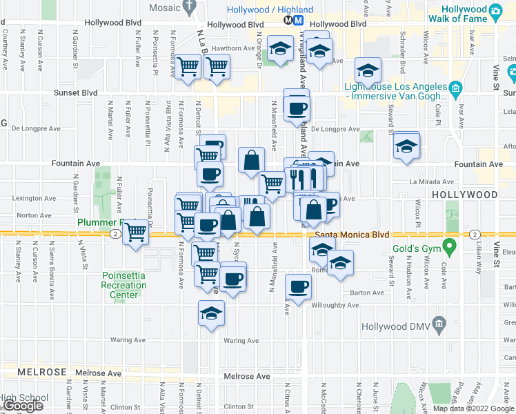 map of restaurants, bars, coffee shops, grocery stores, and more near 1152 North Orange Drive in Los Angeles
