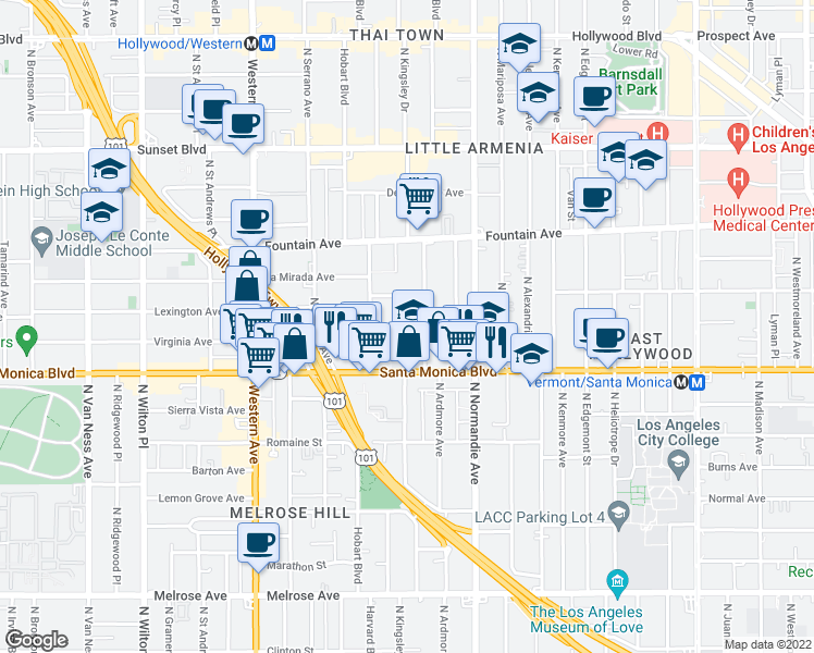 map of restaurants, bars, coffee shops, grocery stores, and more near 5217 Virginia Avenue in Los Angeles