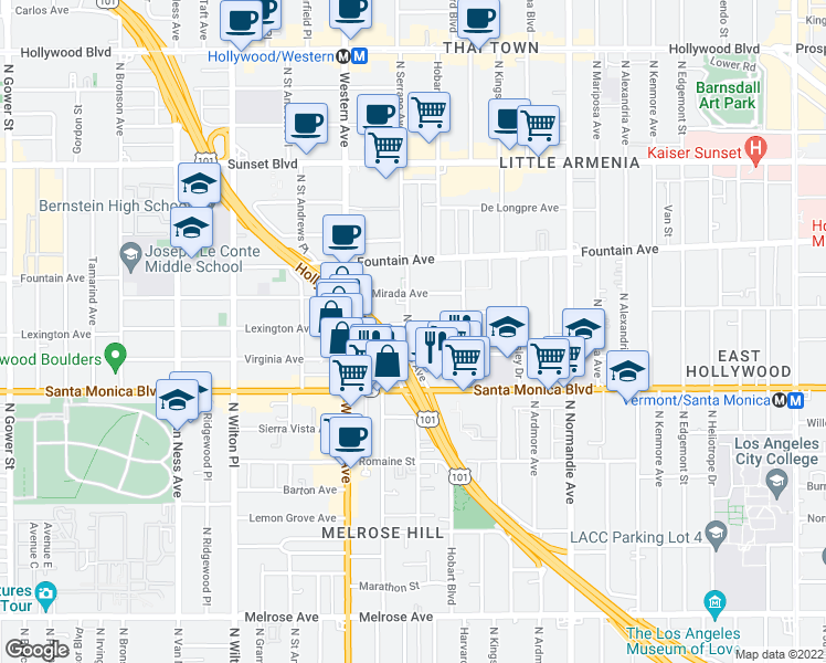map of restaurants, bars, coffee shops, grocery stores, and more near 5356 Lexington Avenue in Los Angeles