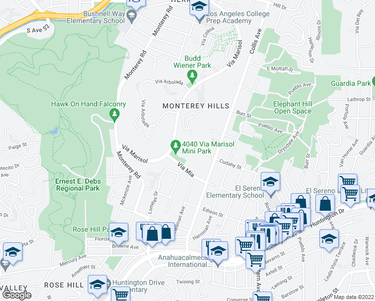 map of restaurants, bars, coffee shops, grocery stores, and more near 4040 Via Marisol in Los Angeles