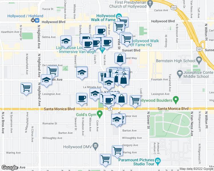 map of restaurants, bars, coffee shops, grocery stores, and more near 1238 North Cahuenga Boulevard in Los Angeles