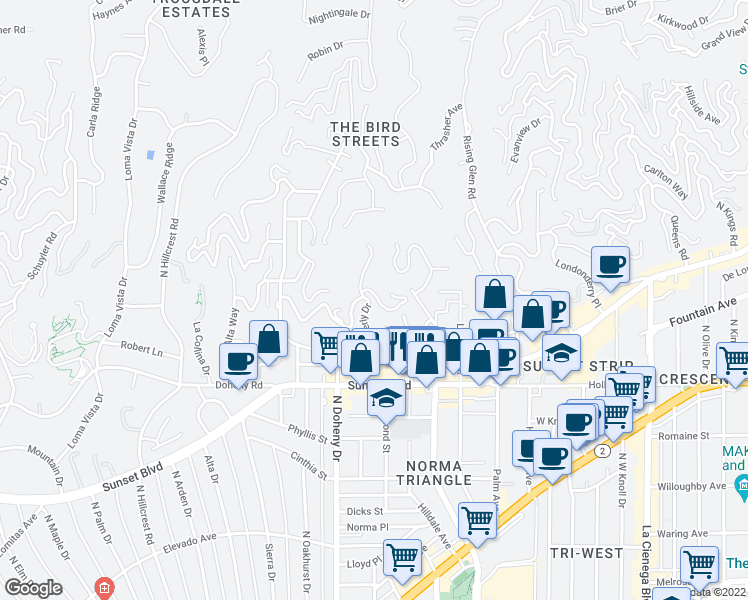 map of restaurants, bars, coffee shops, grocery stores, and more near 1270 North Wetherly Drive in Los Angeles