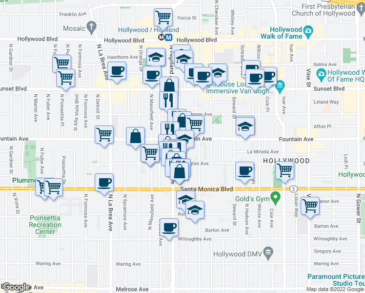 map of restaurants, bars, coffee shops, grocery stores, and more near 1233 North McCadden Place in Los Angeles
