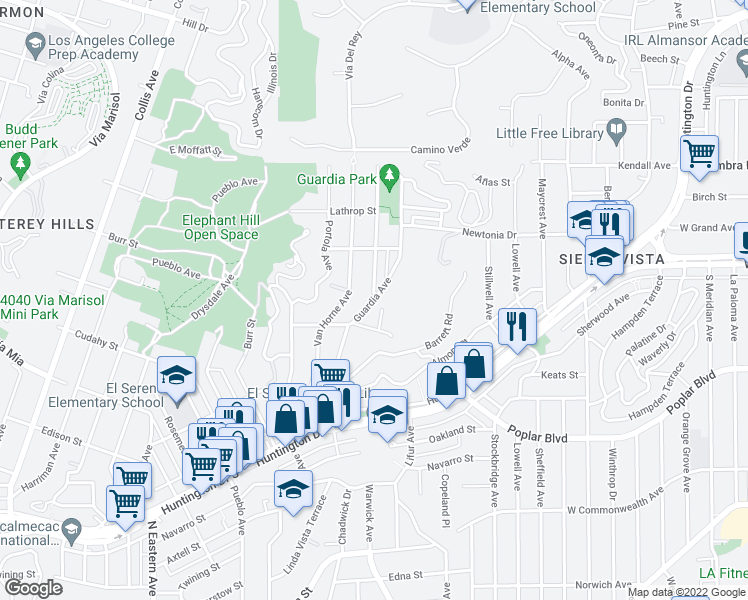 map of restaurants, bars, coffee shops, grocery stores, and more near Guardia Ave & Garden Homes Ave in Los Angeles